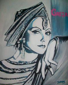 Greta Garbo in acrylic