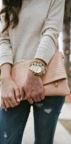 sleek leather beige clutch
