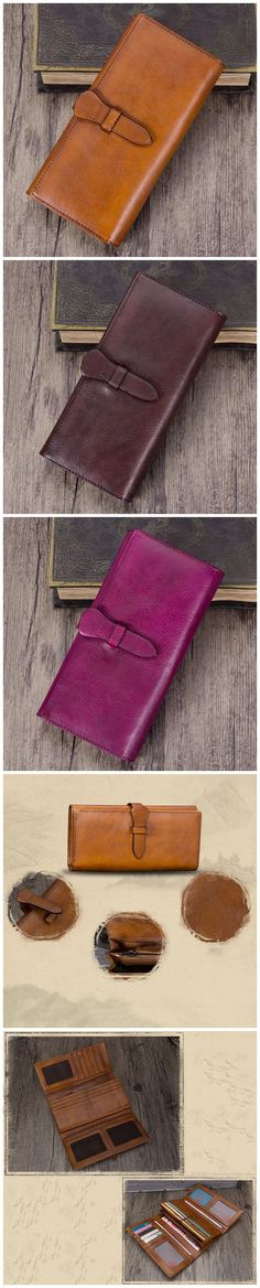 Full Grain Leather Wallet For Women Handmade Leather Purse Vintage Long Wallet A03232