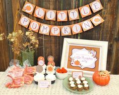 Autumn Party Printable Set: Baby Shower or Toddler Birthday - Little Pumpkin Fall Party Kit - PDF Download - Banner, Cupcake Toppers, Invite by DesignedByMaria on Etsy https://www.etsy.com/listing/160169806/autumn-party-printable-set-baby-shower