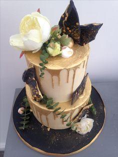 Birthday Cake Buttercream Cake Black White Gold Red