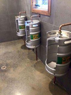 Keg toilet urinals made from old 11 gallon litre) beer kegs. Bar Interior, Restaurant Interior Design, Garage Furniture, Barrel Furniture, Diy Furniture, Pub Design, Pub Bar, Cafe Bar, Outdoor Bathrooms