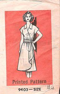 VINTAGE-Wrap-Dress-SEWING-PATTERN-9403-Newspaper-SIZE-16-BUST-38-HIP-40-UNCUT