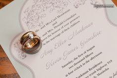 The rings sit on the wedding invite. Second generation wedding rings. Family love is always so special Four O Clock, Family Love, Invite, Amy, Wedding Invitations, Marriage, Wedding Photography, Wedding Rings, Place Card Holders