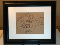 """$19 My hometown burlap art is ready for you to put into an 8X10 opening of any frame.  Customized to your hometown or that of the person to whom you are gifting this to. When you check out, we will need you to tell us in the notes section: zip code, city name and what is the city's """"trademark."""""""