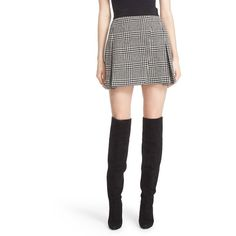 Women's Alice + Olivia 'Cindie' Plaid Faux Wrap Pleated Miniskirt ($330) ❤ liked on Polyvore featuring skirts, mini skirts, plaid pleated skirt, short skirts, tartan miniskirts, short mini skirts and mini skirt