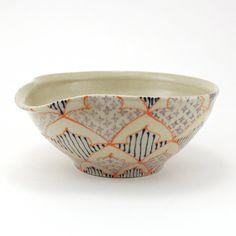 Pouring Bowl Mixing Bowl wtih Orange Purple by dawndishawceramics, $48.00