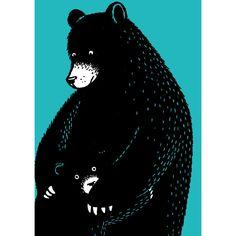 Give me a Bear Hug! - Frances Castle black bear illustration
