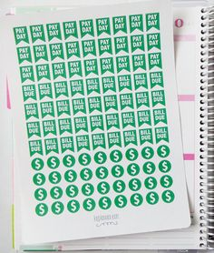 One 6 x 8 sheet of pay day, bill due, and money planner stickers cut and ready for use in your Erin Condren life planner, Filofax, Plum Paper, etc!