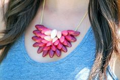 This is so clever! DIY Ombrè Pistachio Shell Necklace by Natalie