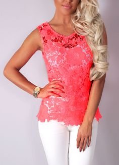 Pink Boutique Shelley neon coral crochet sleeveless #top http://www.pinkboutique.co.uk/new-in/shelly-neon-coral-crochet-sleeveless-top.html #pinkboutique