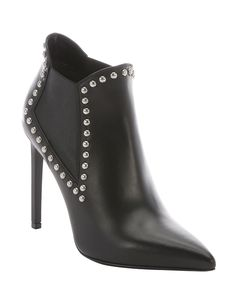 black leather studded chelsea ankle booties