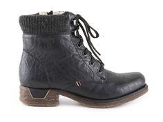 Rieker - Dámské kotníkové zimní boty se šněrováním a zipem šíře G a s pravou ovčí vlnou 79612-14 / tmavě modrá Bugatti, Dr. Martens, Hiking Boots, Combat Boots, Zip, Shoes, Fashion, Moda, Zapatos