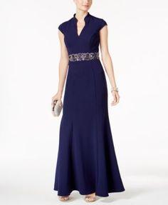 Alex Evenings Embellished Split-Neck Gown