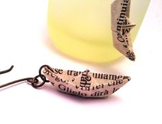 little paper ships earrings - orecchini carta handmade - aniM.E.creative