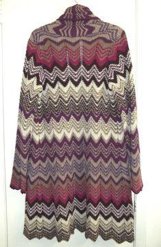 Liz   Co Size Medium Long Knit Duster Cardigan Chevron Pattern Purple Brown  Tan  Liz 17b671cee