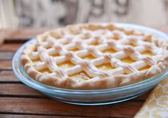 Pipe meringue topping over this lemon pie in a beautiful lattice pattern.  Looks beautiful and is so easy!