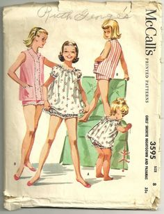 Vintage 50s McCalls 3595 Girls Shortie Nightgown and by mbchills