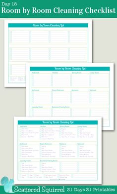 {31 Days 31 Printables} Day 18 - Room by Room Cleaning Checklist Printables- Keep track of your cleaning tasks for each room with one of these handy printables.