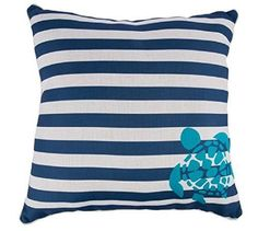 Navy Striped Throw Pillow with Turtle Accent