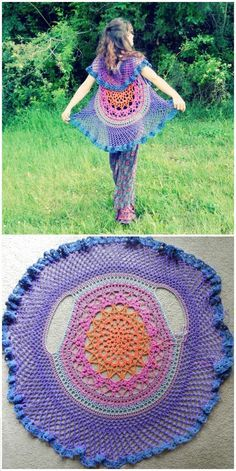 12 Free Crochet Patterns for Circular Vest Jacket   101 Crochet