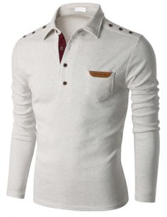 Men's Fashion Long Sleeve Polo T-shirt with Snap Buttons at Shoulder Doublju (KMTTL0148)