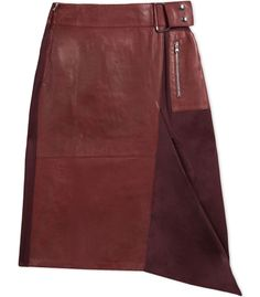 3.1 Phillip Lim Leather & Twill A-Line Skirt