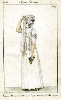 White gown, cap and veil 1806 Costume parisien