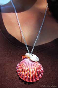 Pecten Sea Shell Necklace, sunrise colors, Hawaiian shell necklace, Beach necklace, silver plated chain, fresh water pearl