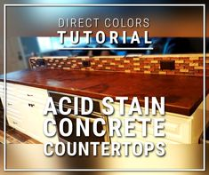 Because countertops are generally smaller projects, acid stain may represent one of several color techniques used to create beautiful kitchen countertops. Concrete Countertops Colors, Concrete Acid Stain Colors, Acid Stained Concrete, Concrete Floors, Plywood Floors, Concrete Lamp, Laminate Flooring, Concrete Cleaner, Bakery Design