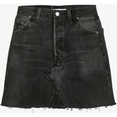 Re/Done Levi'S High Waisted Mini Washed Denim Skirt (428 AUD) ❤ liked on Polyvore featuring skirts, mini skirts, bottoms, black, denim skirt, denim mini skirts, high waisted mini skirt, high-waisted skirt and high waisted denim skirt