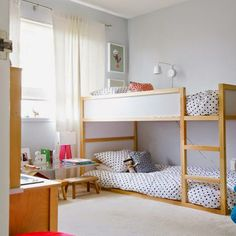 IKEA Kura bed is a great loft bed, it is recommended for 6 years and older. Slatted bed base is included; Kura Ikea, Bed Ikea, Ikea Bunk Bed Hack, Bunk Beds With Stairs, Kids Bunk Beds, Loft Beds, Ikea Hack Kids, Ikea Hacks, Bunk Bed Designs