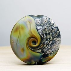 Glass Bead Organic Lampwork Lentil Focal by StoneDesignsbySheila, $30.00