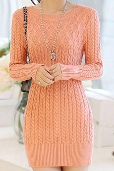 Stylish Long Sleeves Solid Color Sweater Dress For Women Pink Sweater Dress, Knit Dress, Pink Patterns, Stylish Dresses, Crochet Clothes, Knit Crochet, The Dress, Dress Long, Knitting