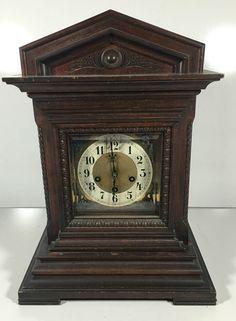 Antique Junghans B06 1900s Germany Mantle Shelf Clock Mahogany Case Mantel Clock   eBay