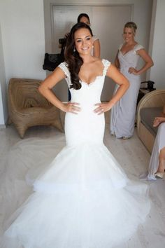 Fitted lace and tulle wedding dress with cap sleeves, sweetheart neckline, and layered skirt! #mermaid #fit 'n #flare.