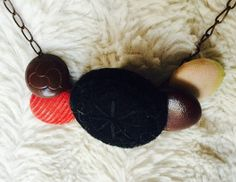 Red Corduroy Fabric and Leather Button by NeverDoubtDesigns