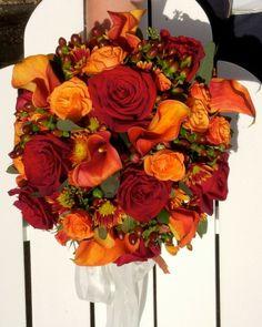 bouquet rond mariage rouge orange