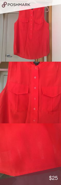 J. Crew blouse, Size 8 Poppy red sleeveless blouse by J.Crew. So cute and comfy. Semi-sheer. Fits true to size. Popover styling. 100% polyester. J. Crew Tops Blouses