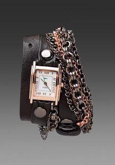 La Mer Mechanic Chain Bracelet Watch in Black