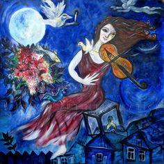 "loumargi:""Marc Chagall - The Violinist"" Marc Chagall, Jewish Music, Jewish Art, Pablo Picasso, Art Triste, Chagall Paintings, Foto Poster, Klimt, Henri Matisse"