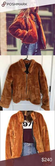 Free People Furry Bomber Jacket Terracotta Brand new with tags! This jacket is sold out everywhere! I'm only selling because I searched high and low for this jacket and now have 2 of them. You will not find another size small anywhere. It's absolutely gorgeous and you will not regret this purchase 🙌🏻 Free People Jackets & Coats