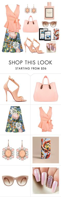 """""""Summer Mondays"""" by micha-love ❤ liked on Polyvore featuring Christian Louboutin, Aevha London, Marni, Irene Neuwirth, Burberry and Gucci"""