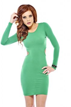 AX Paris Women's Fitted Side Cut Out Green Dress, Size: