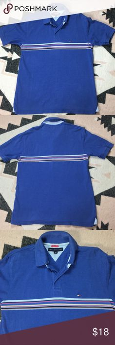 Tommy Hilfiger Men's Polo Shirt Blue Striped Brand Tommy Hilfiger  Style Men's Polo Shirt Short Sleeve with logo and stripes Color Blue with Striped Made in India Material 100% Cotton Length 26.5 Arms 8 Armpit to Armpit 19 Condition Preowned Shirt. No stains. Small hole not he bottom right. See last picture. There is normal wear from wash/fading. Tommy Hilfiger Shirts Polos