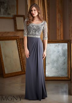 Wedding Dresses, Bridesmaid Dresses, Prom Dresses and Bridal Dresses MGNY Evening Dresses - Style 71401 - MGNY by Mori Lee, Fall Intricate Beading on Jersey Mother of the Bride Dress Designed by Madeline Gardner. Mother Of Groom Dresses, Mothers Dresses, Mother Of The Bride, Mob Dresses, Fashion Dresses, Wedding Dresses, Lace Dresses, Pretty Dresses, Bride Gowns