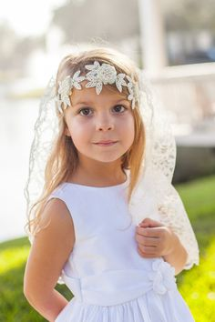 First Communion Veil and Headband COMBO by firstcommunionveils on Etsy