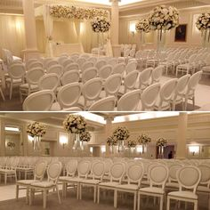 White Isla Chairs for the ceremony of this beautiful pearly white wedding in a luxury London hotel. Colour Schemes, Luxury Wedding, How To Memorize Things, Chairs, Ceiling Lights, London, Weddings, Furniture, Beautiful