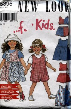 New Look 6396, Girls Summer Clothes, Sewing Pattern, Dresses, Shorts, Tops, Jumper, Uncut, Sizes 2 to 7 by OnceUponAnHeirloom on Etsy
