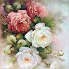 """Photo from album """"Sonie Ames"""" on Yandex. Art Floral, Floral Vintage, Vintage Flowers, Floral Prints, Decoupage Vintage, Cabbage Roses, China Painting, Beautiful Paintings, Watercolor Flowers"""